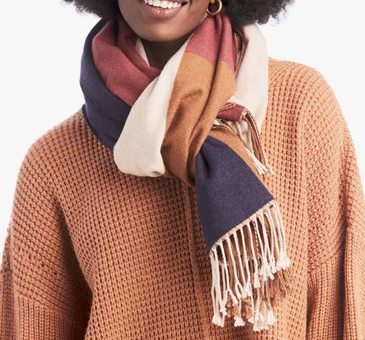 This colorblock fringe scarf is a must have for cozy fall outfits. #ABlissfulNest