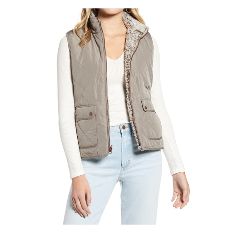 This quilted, fleece vest is a fall closet staple. It is reversible too! #ABlissfulNest