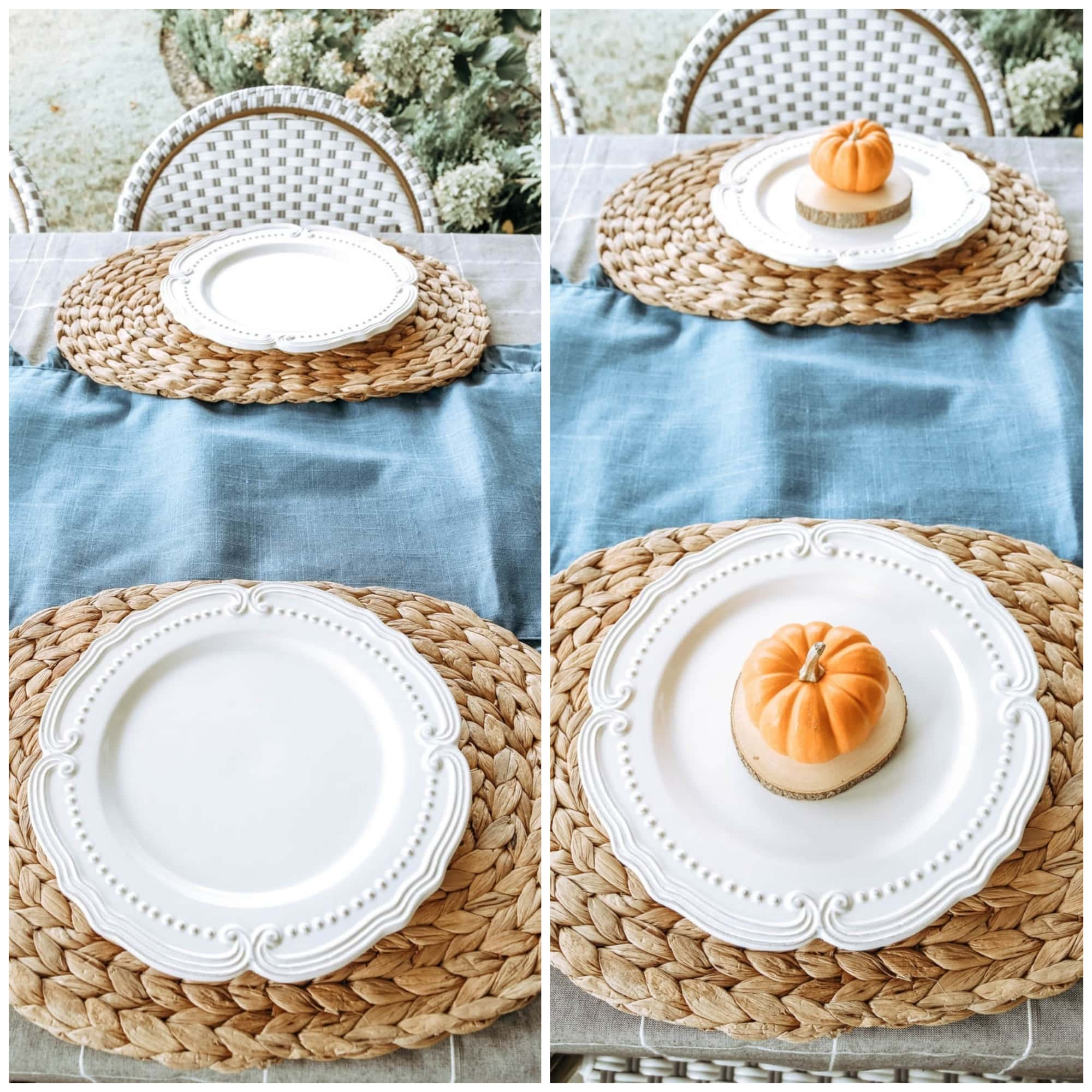 Use layers when setting a table. Mini pumpkins, white plates, seagrass table placemats. #ABlissfulNest #falltable #falldecor #thanksgiving