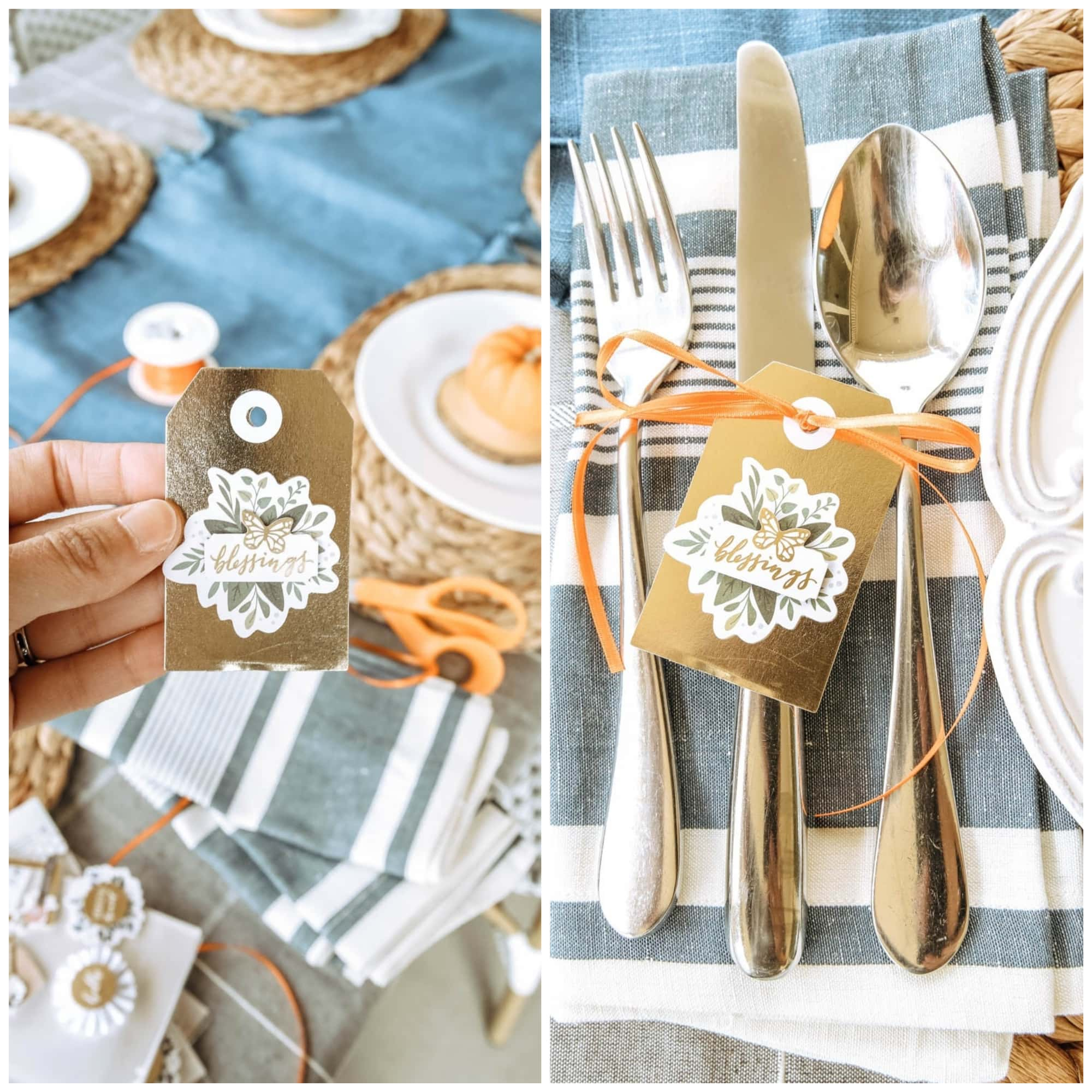 Simple DIY napkin holders for this autumn fall table. #ABlissfulNest #falltable #fall #thanksgiving