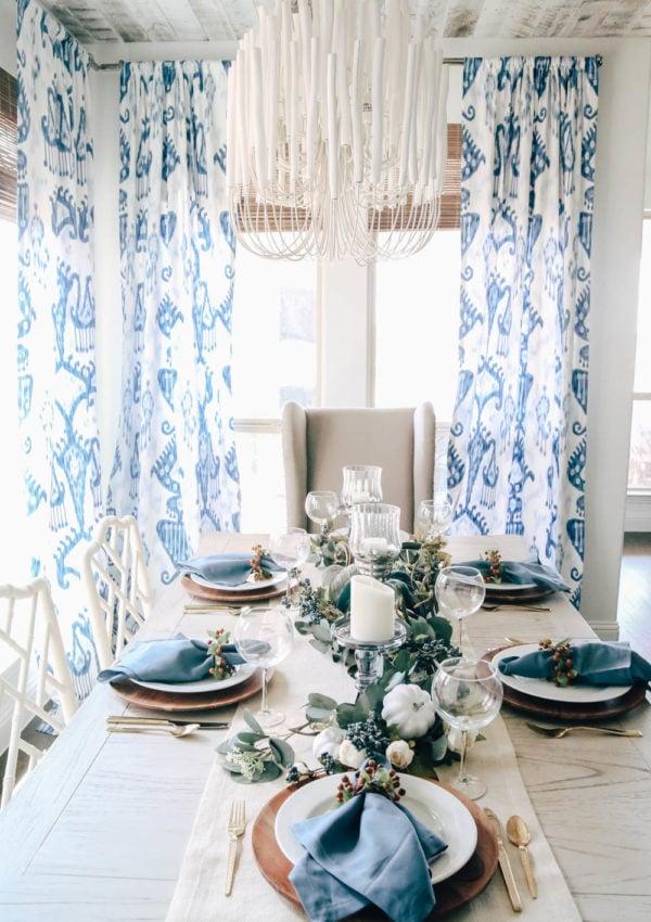 Shades of Blue Harvest Fall Table Idea