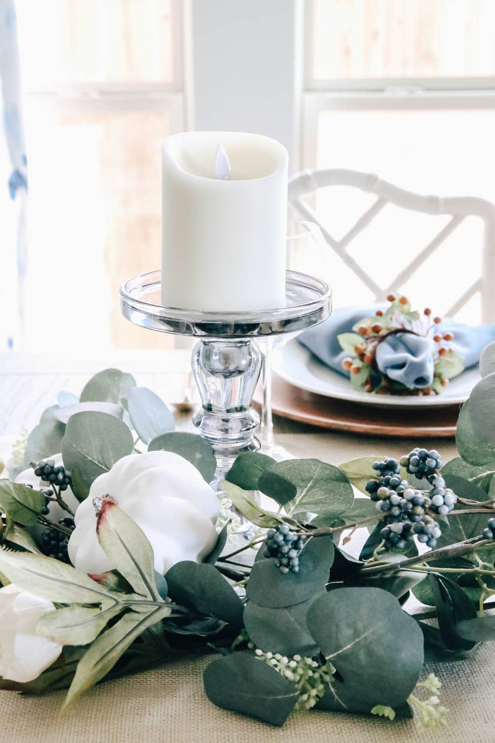 The prettiest smokey grey color on these candles makes them neutral to use any time of year. #ABlissfulNest #fall #thanksgiving #falldecor