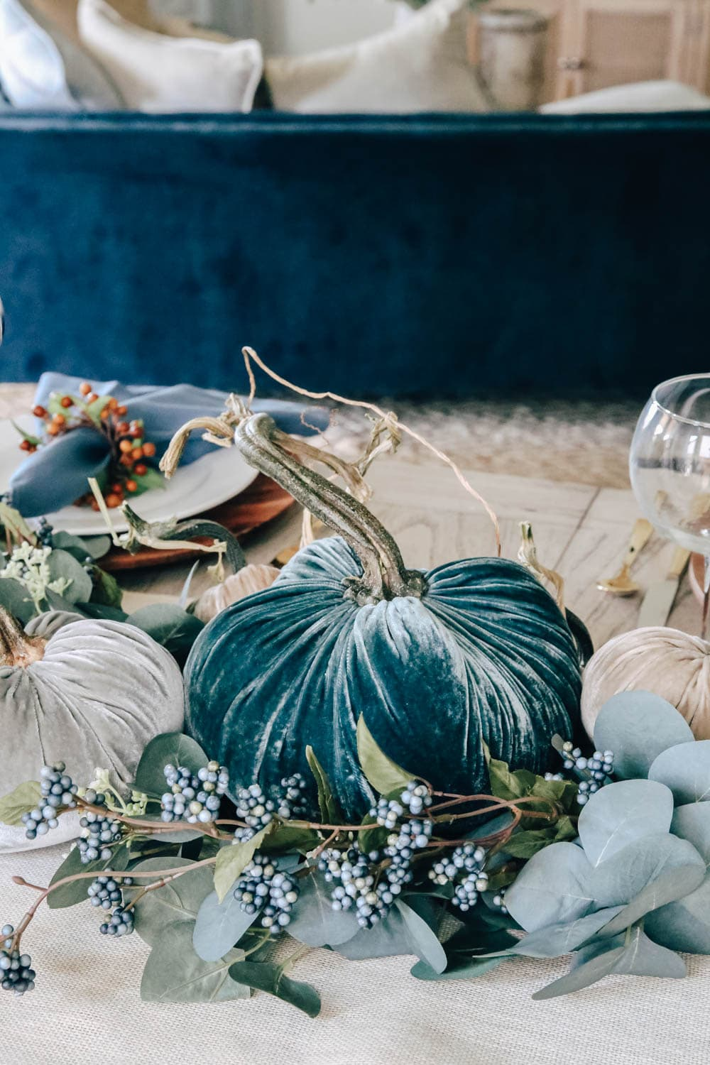 The most gorgeous shades of blue in these velvet pumpkins. #ABlissfulNest #fall #thanksgiving