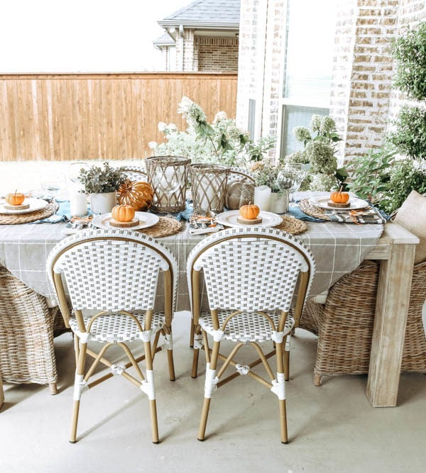 Simple Orange and Blue Autumn Fall Table