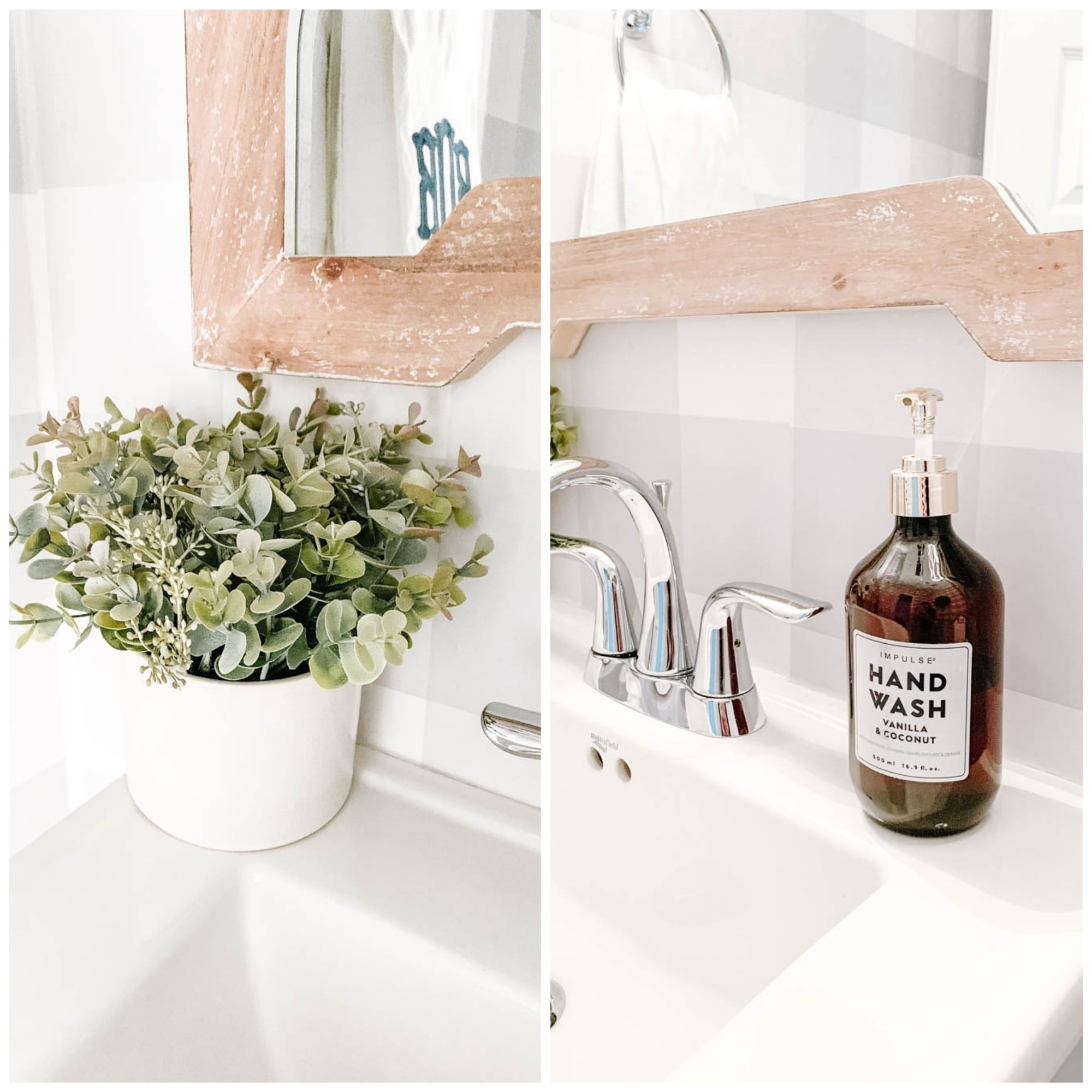 Bathroom details make this powder bathroom makeover warm and inviting. #ABlissfulNest #bathroom #bathroomideas