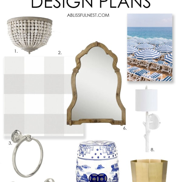 A beautiful bathroom design board to update a boring space into a coastal farmhouse style bathroom. This design features buffalo check wallpaper, gold accents, wood beaded light and more! #ABlissfulNest #bathroom #bathroommakeover #bathroomdesign