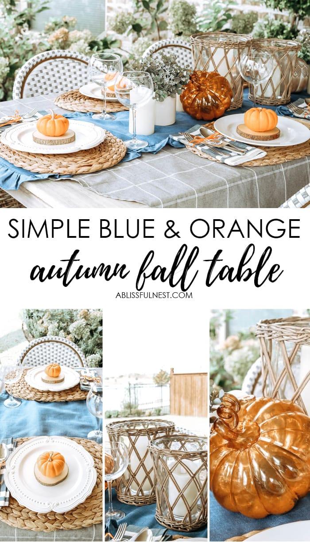Create an outdoor harvest table with these simple decor ideas. #ABlissfulNest #falltable #falldecor