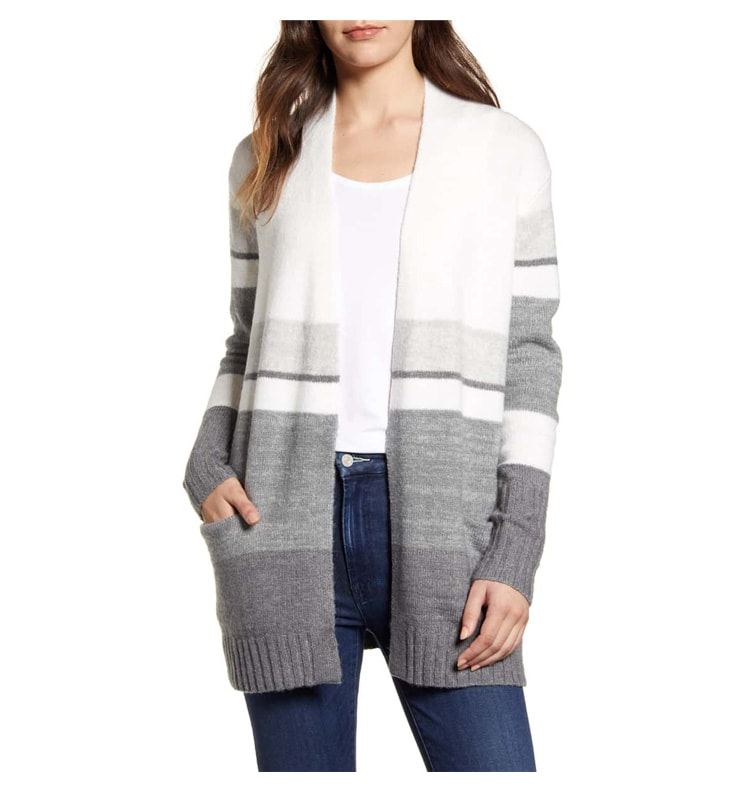 This is the perfect striped cardigan for fall with grey and white stripes. #ABlissfulNest