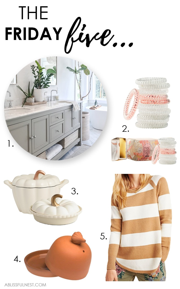 Bathroom inspiration, fall cooking tips and cozy sweater finds. #ABlissfulNest