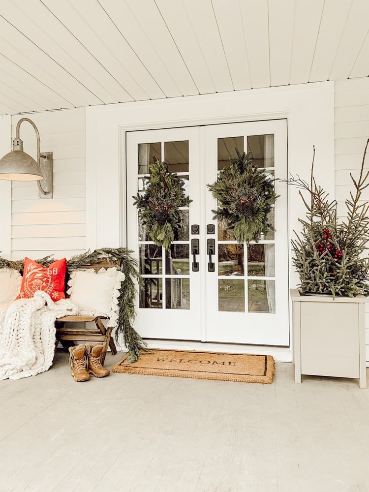 The coziest, most beautiful Christmas Porch for all of the farmhouse lovers from Liz Marie Blog!