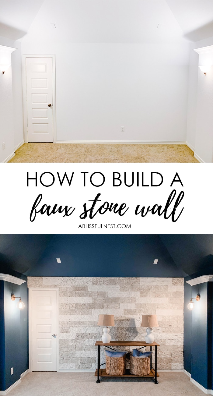 Tips and tricks on how to build a faux stone wall in your home. #ABlissfulNest #diytutorial #ad #airstone