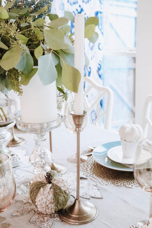 Beautiful modern gold candlesticks, mercury glass candlesticks, natural pumpkins. #ABlissfulNest #falldecor #thanksgiving