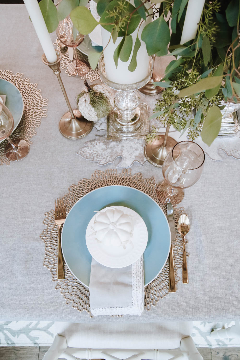 Create layers when decorating your table with chargers, plates, salad plates and more! #ABlissfulNest #falldecor #thanksgiving