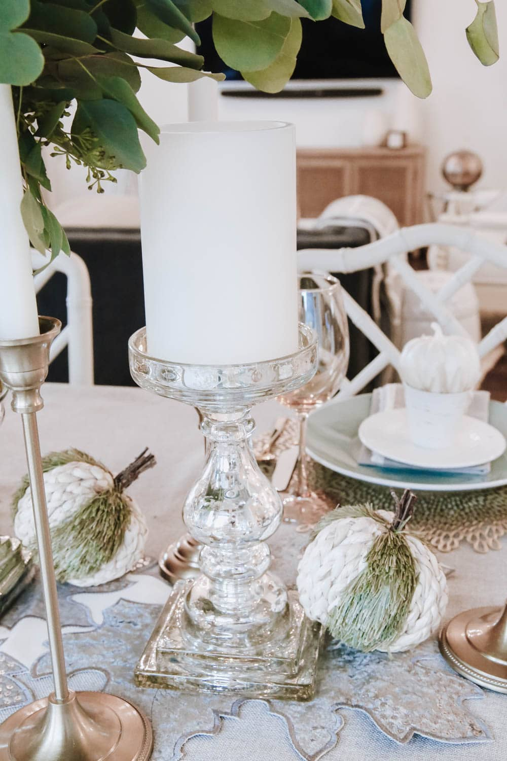 Beautiful mercury glass candlesticks are a staple for tablescapes. #ABlissfulNest #falldecor #thanksgiving