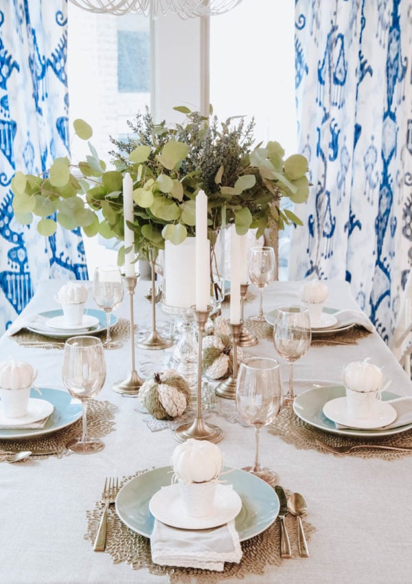 White and Gold Pumpkin Themed Fall Tablescape