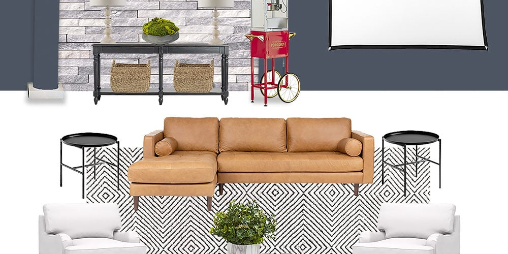 Sharing the design plans for this modern media room with all the sources. #ABlissfulNest #mediaroom #livingroom