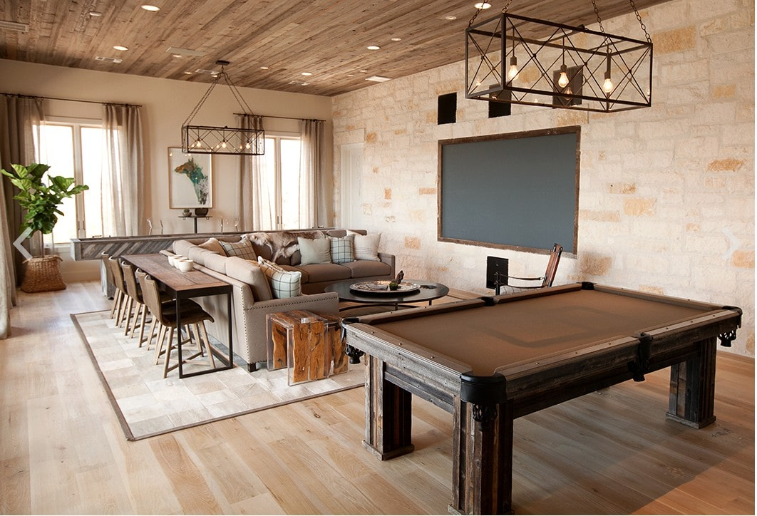 Love all the rustic touches in this family-friendly media room. #ABlissfulNest #mediaroom