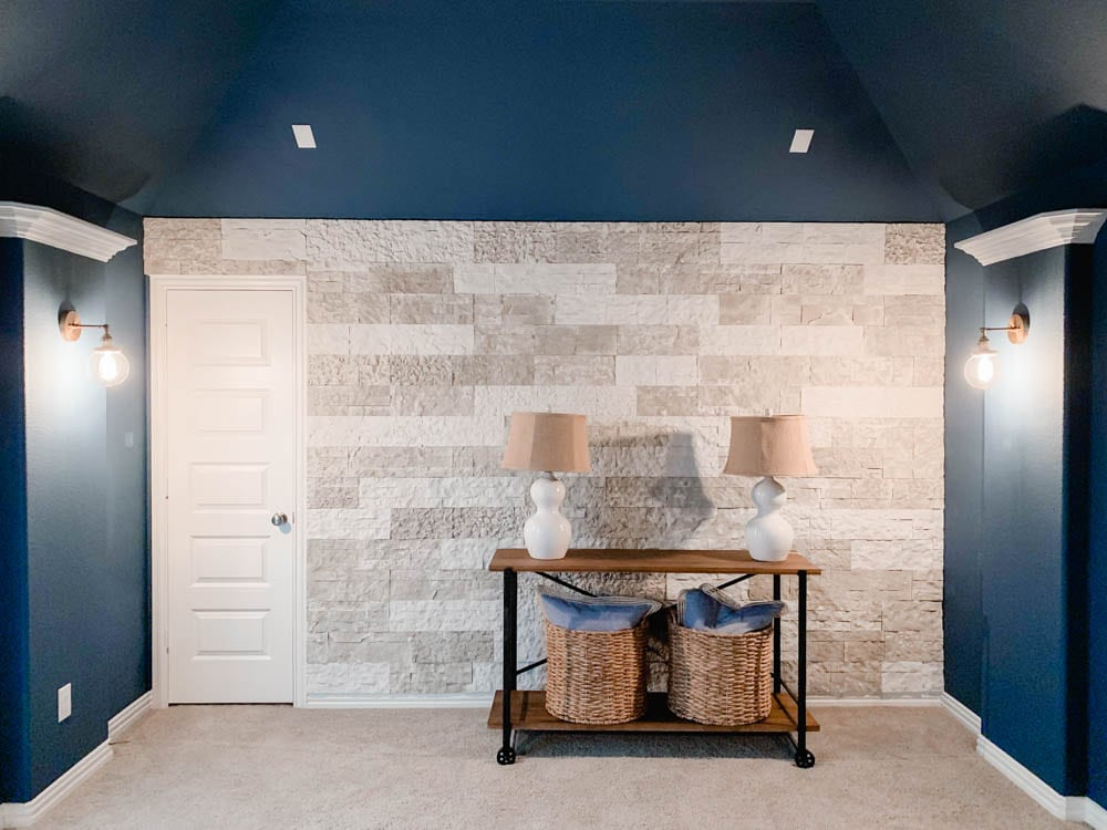 Tips and tricks on how to build a faux stone wall in your home. #ABlissfulNest #diytutorial