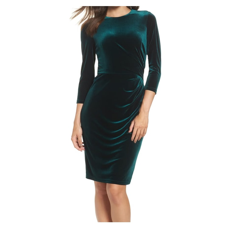 This velvet sheath cocktail dress is a perfect option for all of your holiday parties this season. #ABlissfulNest