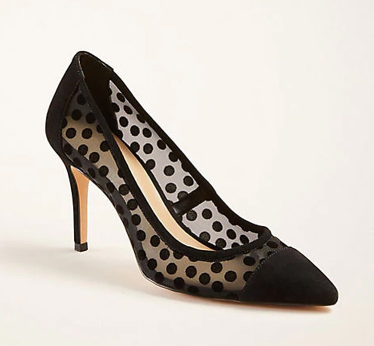 These black, dotted suede heels are the perfect pair for all of your holiday parties and events! #ABlissfulNest