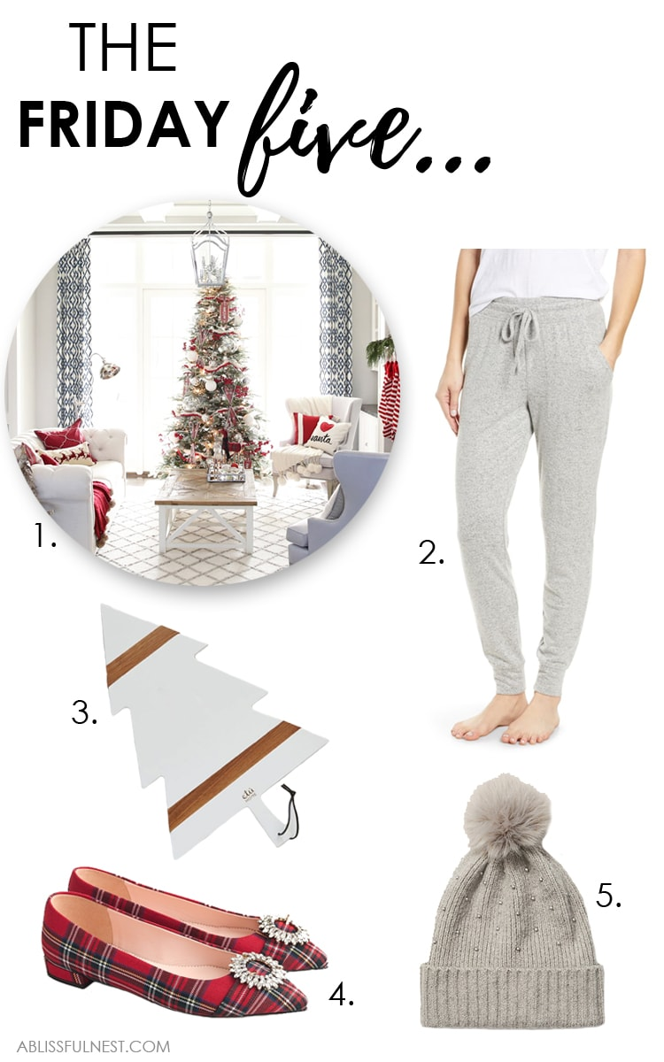 This week's Friday Five includes cozy and holiday finds, plus a beautiful Christmas living room and more! #ABlissfulNest