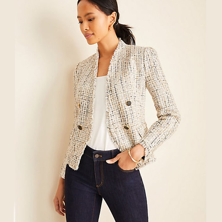 The prettiest tweed blazer that goes with every look! On sale right now, too! #ABlissfulNest