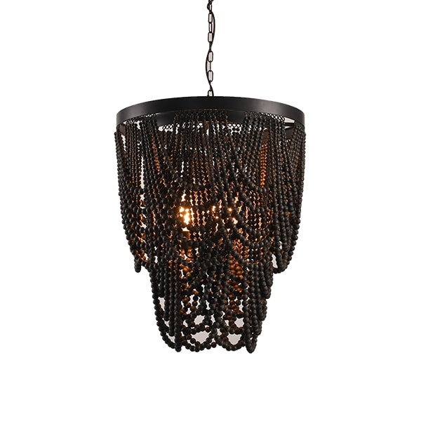 A modern wood beaded light fixture perfect for a stairway, entry, bedroom.
