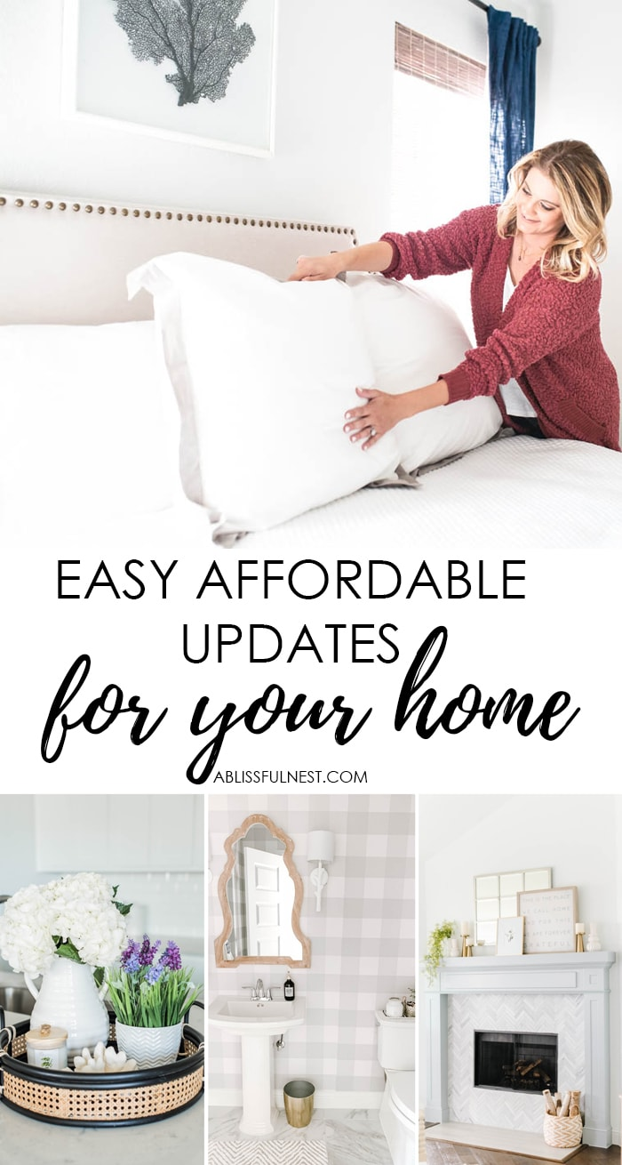 So many easy updates for your home that are affordable to refresh your home for the new year. #ABlissfulNest #homeupdates #designtips