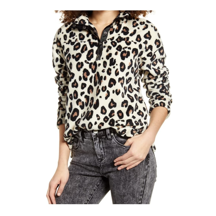 This cozy, leopard printed pullover is perfect for a cold day! #ABlissfulNest