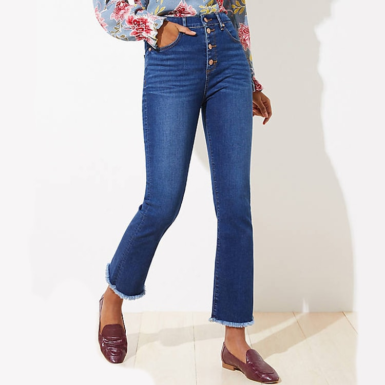 These high waisted crop jeans are so cute! They have a bit of a flare and are so trendy. #ABlissfulNest