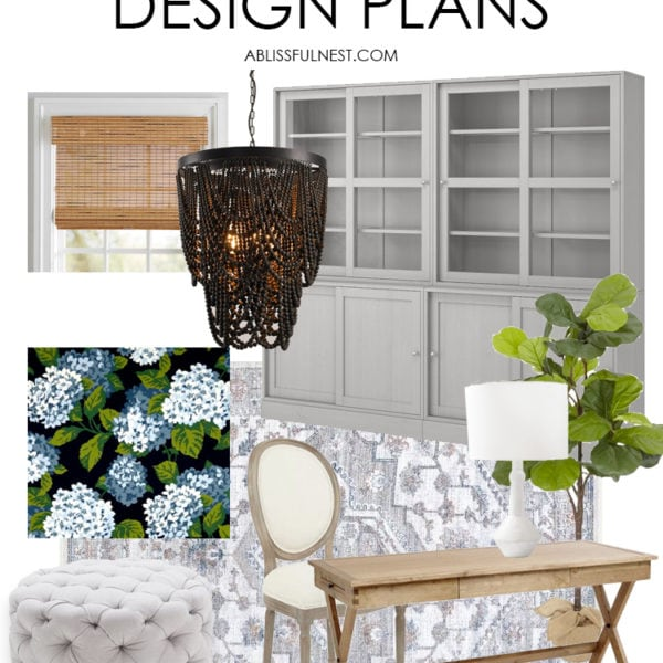 Get the look of this cozy home office design plan with all the sources! #homeoffice #officeideas #ABlissfulNest