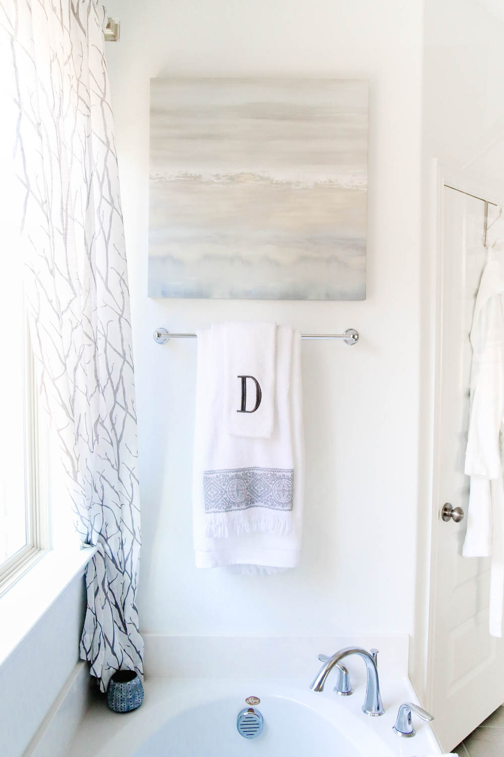 Add Art for a beautiful touch of whimsy and personality to a bathroom. #AtHomeStores #AtHomeFinds #ABlissfulNest #ad
