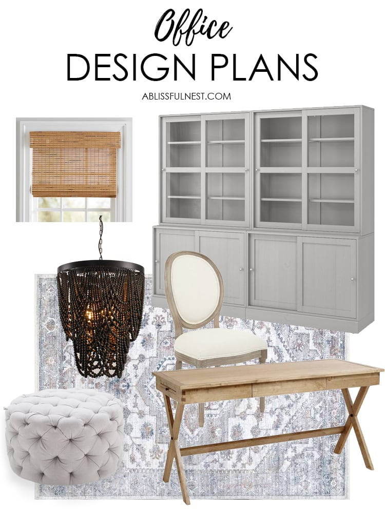 Affordable home office ideas and home office design plans for a cozy working space. #homeoffice #officeideas #ABlissfulNest