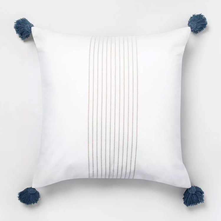 This tassel throw pillow would be beautiful in your living room or bedroom, perfect for a refresh! #ABlissfulNest