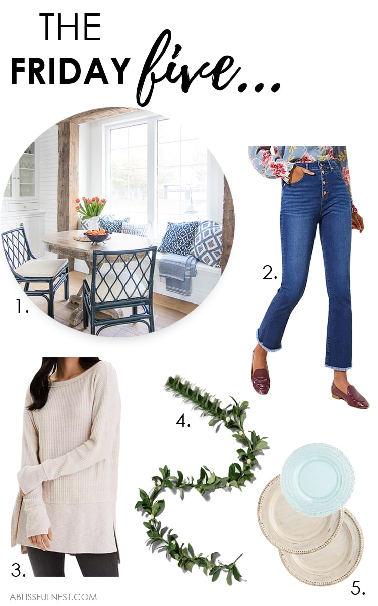 This week's Friday Five includes the most beautiful breakfast nook, a pair of must-have jeans and more! #ABlissfulNest