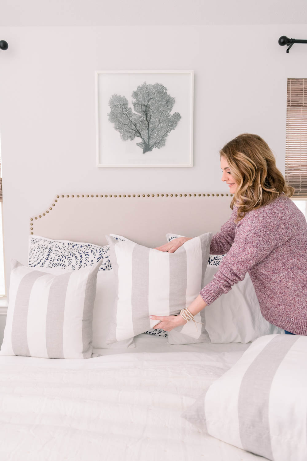 Use throw pillows to add color and pattern to your bed. #ABlissfulNest #bedding #beddingideas