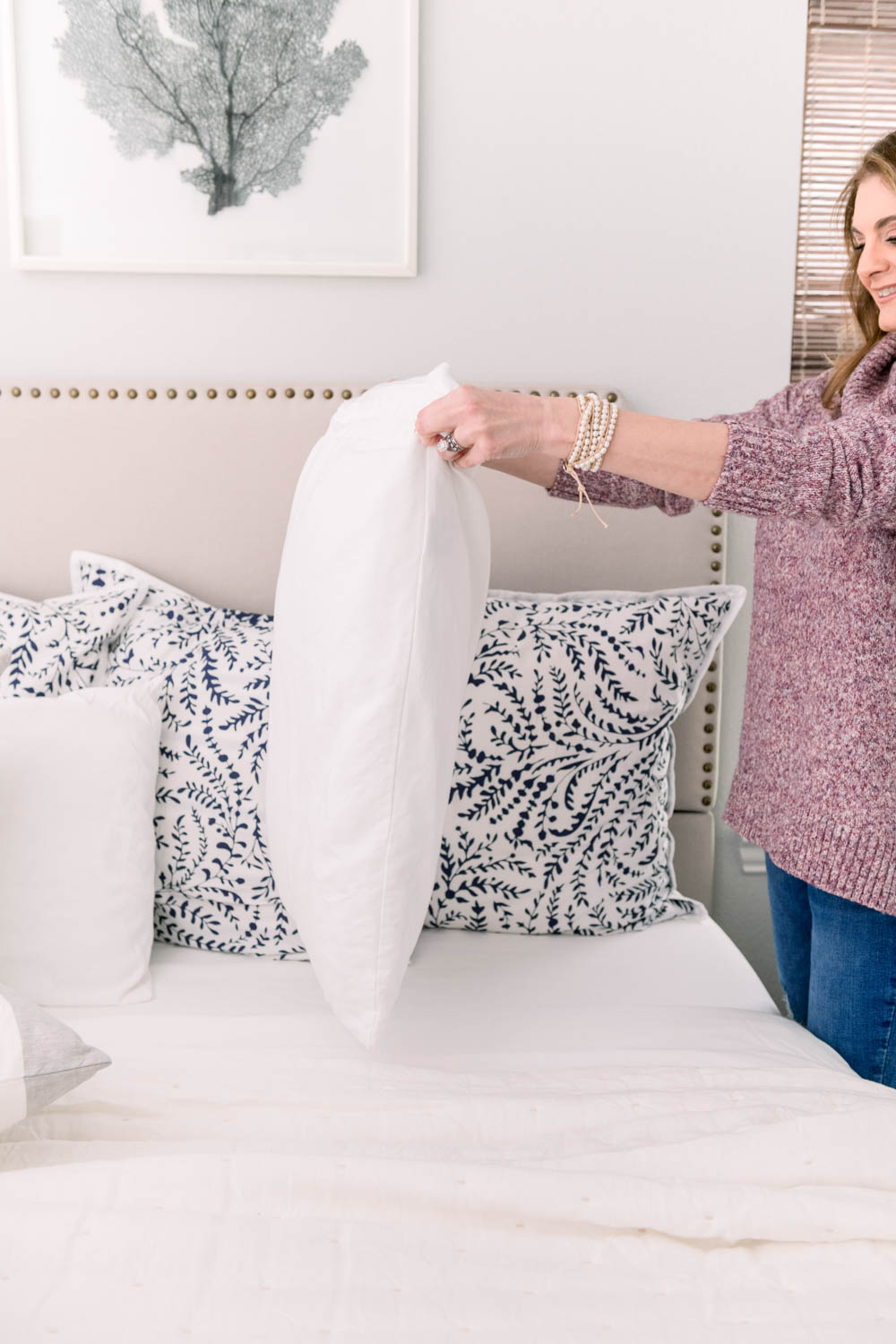Don't forget to add your standard pillows to the bedding mix to layer a bed like a designer! #ABlissfulNest #bedroom #bedding