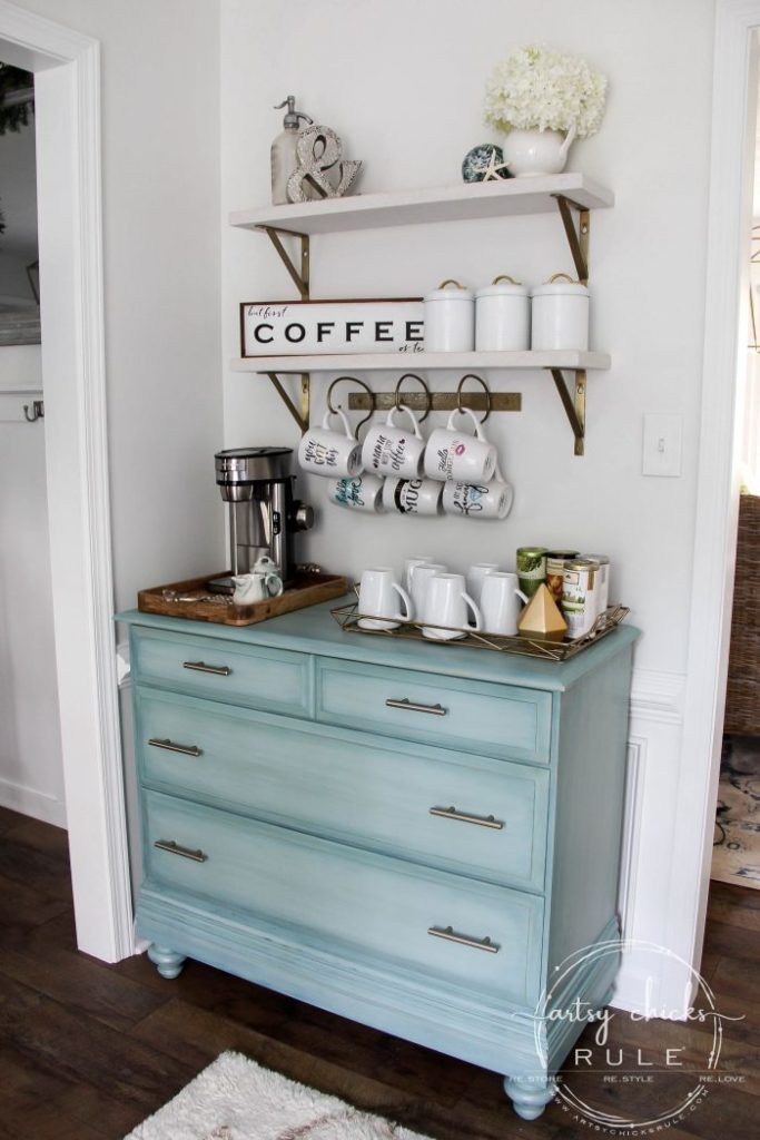 blue dresser coffee bar