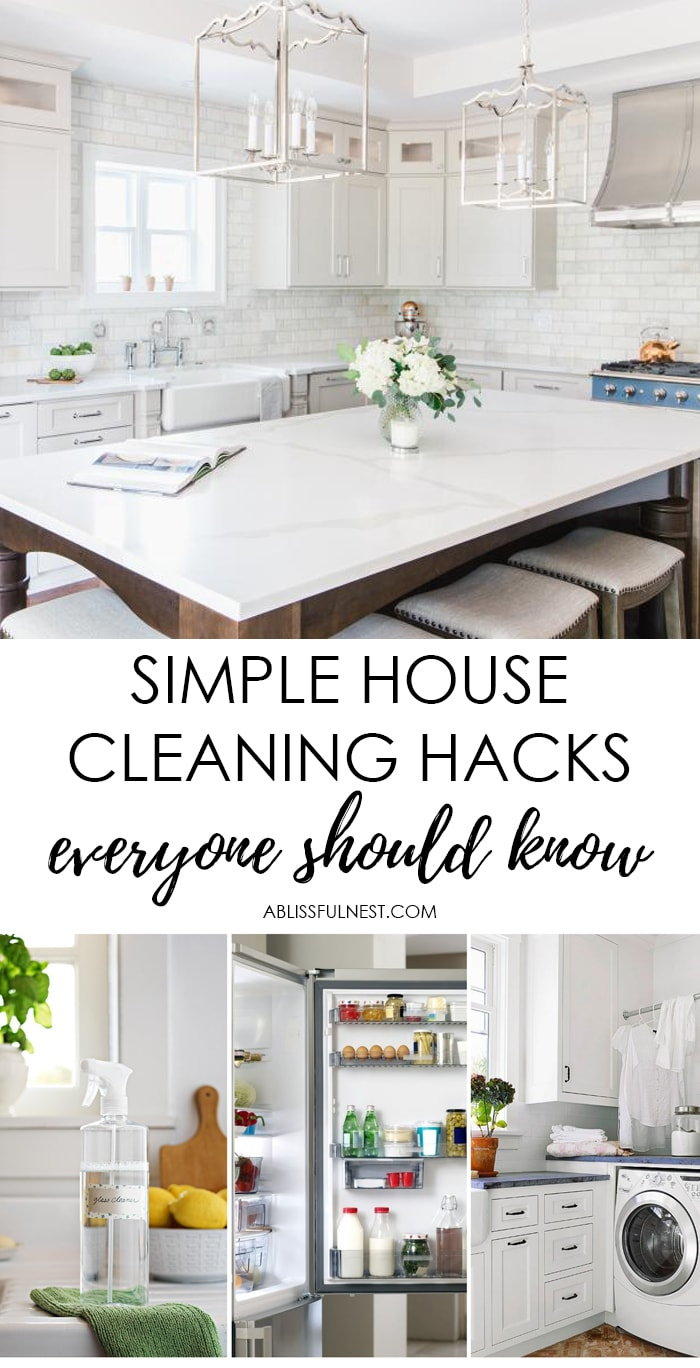 These home cleaning hacks will help you clean your home inefficient, out-of-the-box (yet totally brilliant!) ways. Give these smart hacks a try and your house will sparkle. #ABlissfulNest #cleanignhacks #cleaningtips