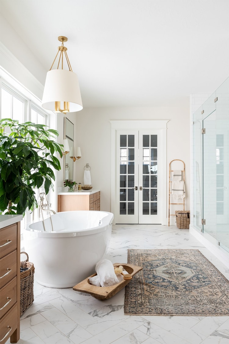 This gorgeous master bathroom designed by McGee & Co. is incredible!