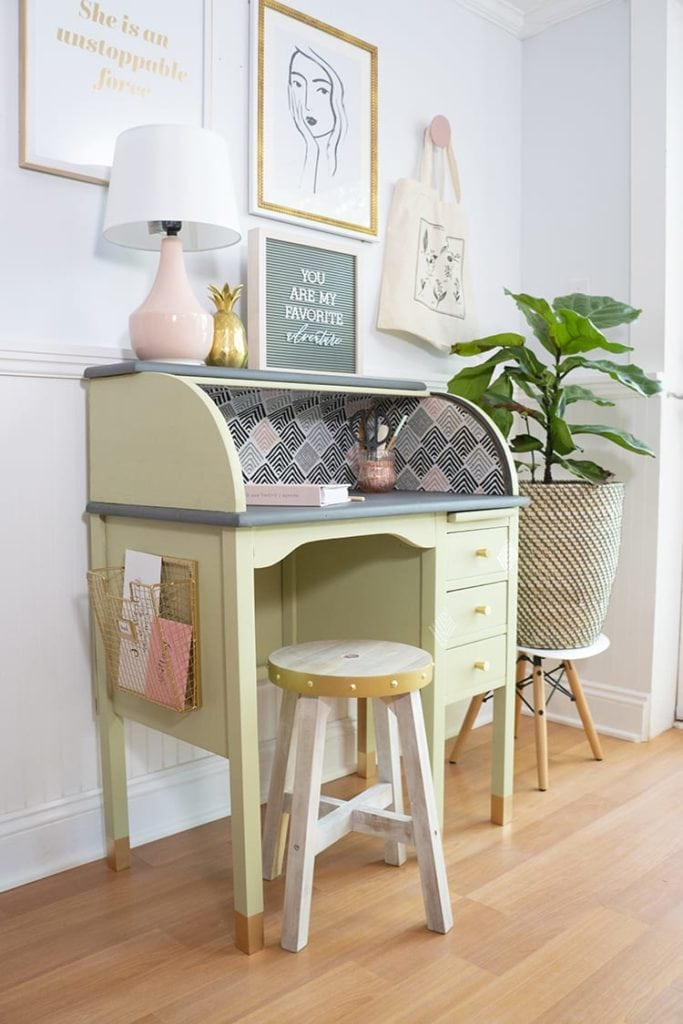 Roll top desk painted in Behr's 2020 color of the year, Nature Green