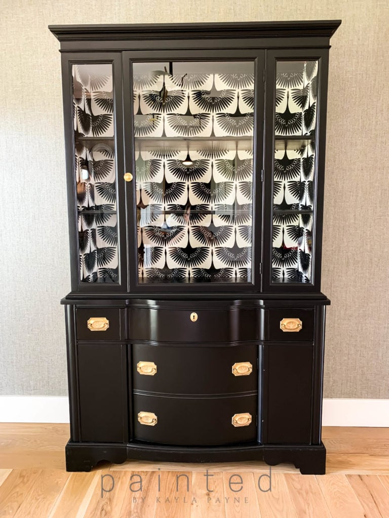 High gloss painted black china cabinet