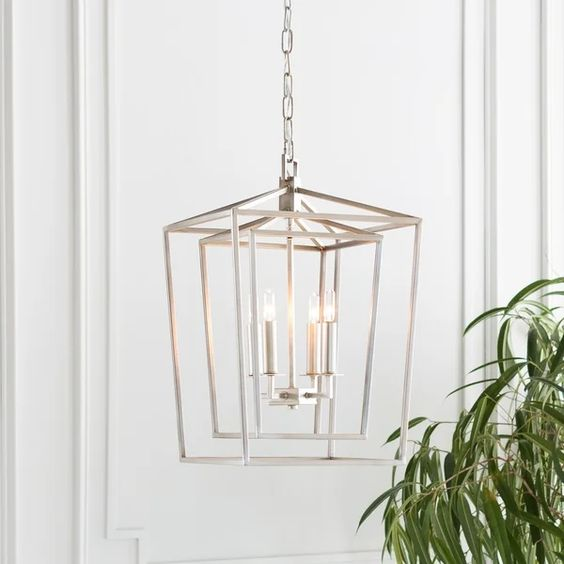 A fun geometric lantern for a transitional modern space.