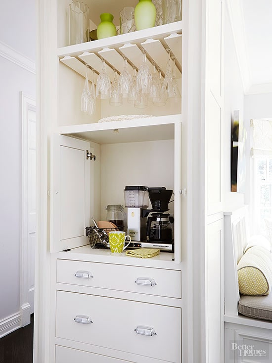 cabinet coffee station in a small space
