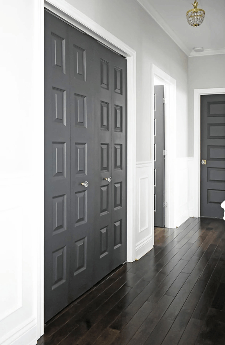 Dark painted doors in a bright hallway