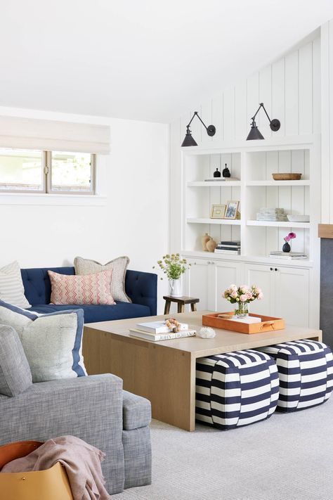 Such a cozy family room space that could be used for a game room or media room.