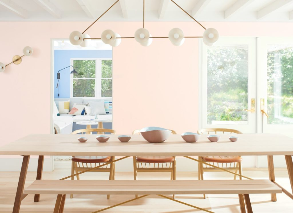 Dining room painted in First Light by Benjamin Moore, one of the 2020 paint trends.