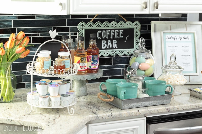 kitchen counter coffee station