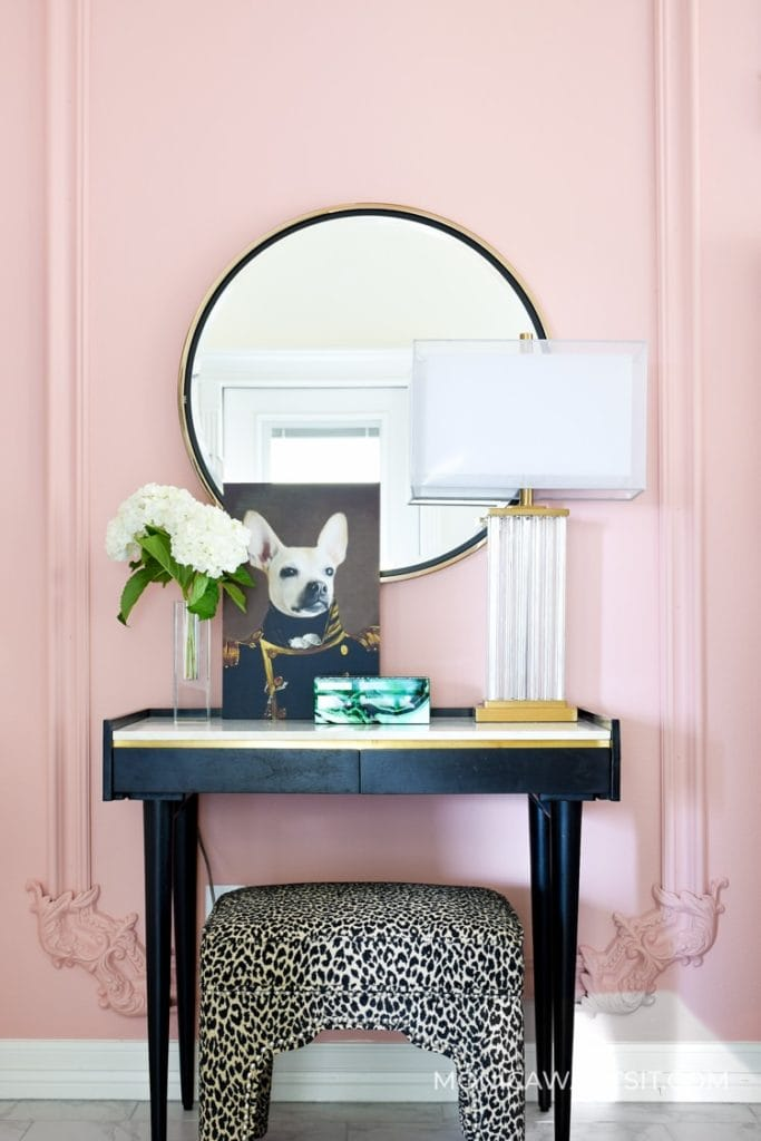 Accent wall painted a pink quartz color, one of the 2020 color trends