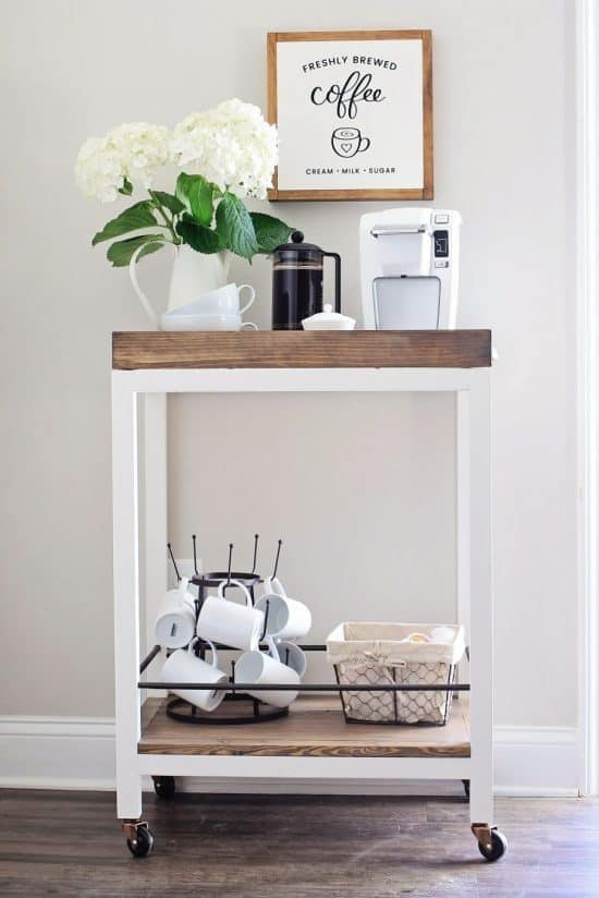 Love this simple way to add a coffee station if you don't have counter space.